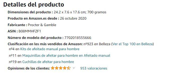 categoría producto amazon